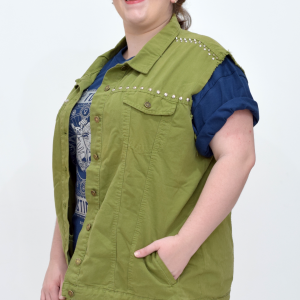 colete-jeans-mix-militar-customizado-blossoms-plus-size